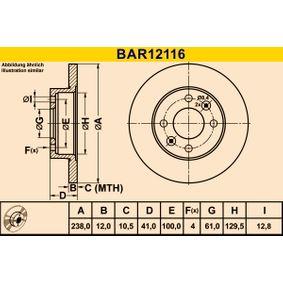 BAR12116 Bremsscheibe Barum BAR12116 - Große Auswahl - stark reduziert