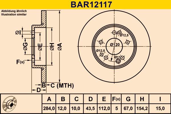 BAR12117 Barum Voll, legiert Ø: 284,0mm, Lochanzahl: 5, Bremsscheibendicke: 12,0mm Bremsscheibe BAR12117 günstig kaufen