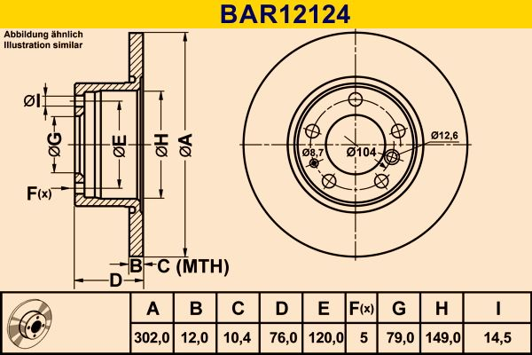 Комплект спирачни дискове BAR12124 Barum — само нови детайли