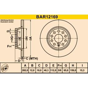 BAR12169 Disco de travão Barum BAR12169 Enorme selecção - fortemente reduzidos