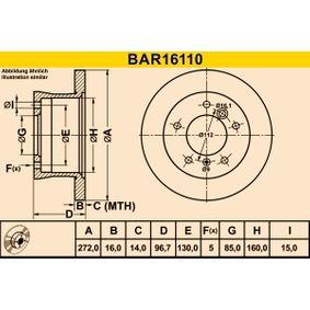 BAR16110 Barum Voll, legiert/hochgekohlt Ø: 272,0mm, Lochanzahl: 5, Bremsscheibendicke: 16,0mm Bremsscheibe BAR16110 günstig kaufen