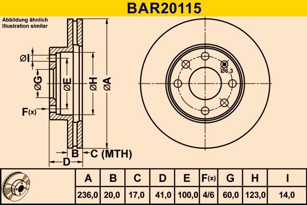BAR20115 Barum belüftet Ø: 236,0mm, Lochanzahl: 4, Bremsscheibendicke: 20,0mm Bremsscheibe BAR20115 günstig kaufen