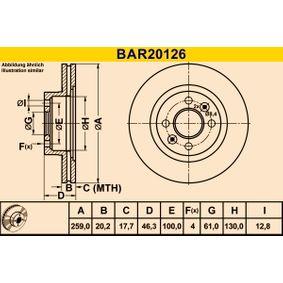 BAR20126 Barum belüftet Ø: 259,0mm, Lochanzahl: 4, Bremsscheibendicke: 20,2mm Bremsscheibe BAR20126 günstig kaufen