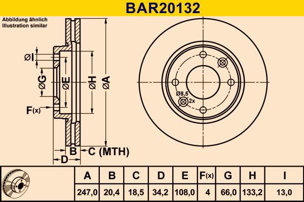 BAR20132 Barum belüftet Ø: 247,0mm, Lochanzahl: 4, Bremsscheibendicke: 20,4mm Bremsscheibe BAR20132 günstig kaufen