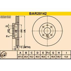 BAR20142 Barum belüftet Ø: 257,5mm, Lochanzahl: 4, Bremsscheibendicke: 20,0mm Bremsscheibe BAR20142 günstig kaufen