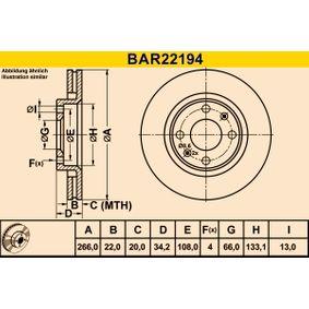 Zavorni kolut BAR22194 za CITROËN C2 po znižani ceni - kupi zdaj!