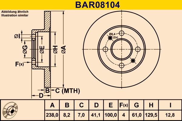 BAR08104 Barum Voll Ø: 238,0mm, Lochanzahl: 4, Bremsscheibendicke: 8,2mm Bremsscheibe BAR08104 günstig kaufen