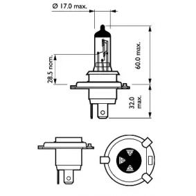 12342PRC1 Glödlampa, fjärrstrålkastare PHILIPS - Upplev rabatterade priser