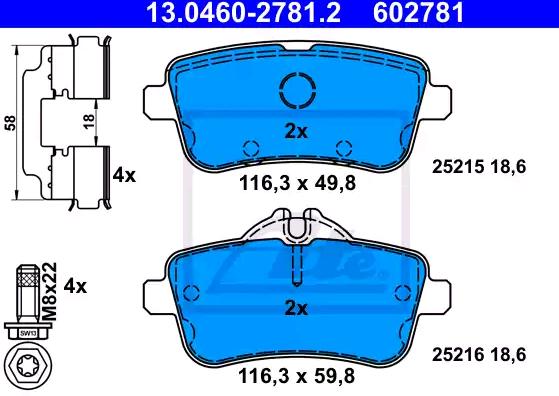25216 ATE exkl. Verschleißwarnkontakt, für Verschleißwarnanzeiger vorbereitet, mit Bremssattelschrauben, mit Zubehör Höhe 1: 49,8mm, Höhe 2: 59,8mm, Breite: 116,3mm, Dicke/Stärke: 18,6mm Bremsbelagsatz, Scheibenbremse 13.0460-2781.2 günstig kaufen