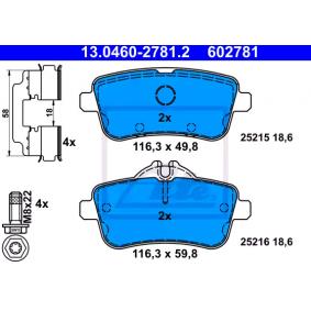 25216 ATE für Verschleißwarnanzeiger vorbereitet, exkl. Verschleißwarnkontakt, mit Bremssattelschrauben, mit Zubehör Höhe 1: 49,8mm, Höhe 2: 59,8mm, Breite: 116,3mm, Dicke/Stärke: 18,6mm Bremsbelagsatz, Scheibenbremse 13.0460-2781.2 günstig kaufen