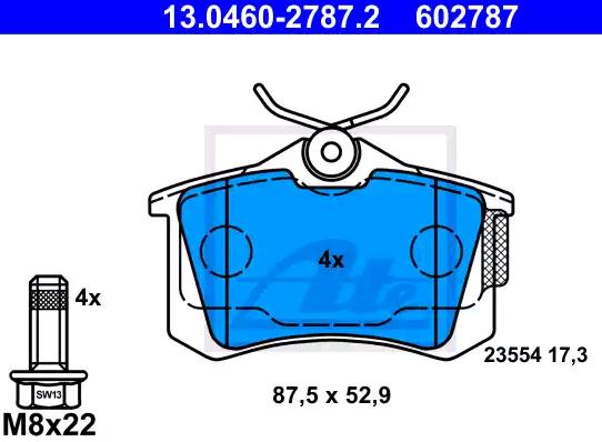 ATE: Original Bremssystem 13.0460-2787.2 (Höhe: 52,9mm, Breite: 87,5mm, Dicke/Stärke: 17,3mm)