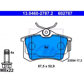 23554 ATE exkl. Verschleißwarnkontakt, nicht für Verschleißwarnanzeiger vorbereitet, mit Bremssattelschrauben Höhe: 52,9mm, Breite: 87,5mm, Dicke/Stärke: 17,3mm Bremsbelagsatz, Scheibenbremse 13.0460-2787.2 günstig kaufen