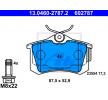 Piduriklotsi komplekt, ketaspidur 13.0460-2787.2 eest VW GOLF soodustusega - oske nüüd!