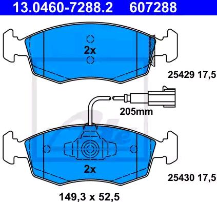 13046072882 Bremsbeläge ATE 25429 - Große Auswahl - stark reduziert
