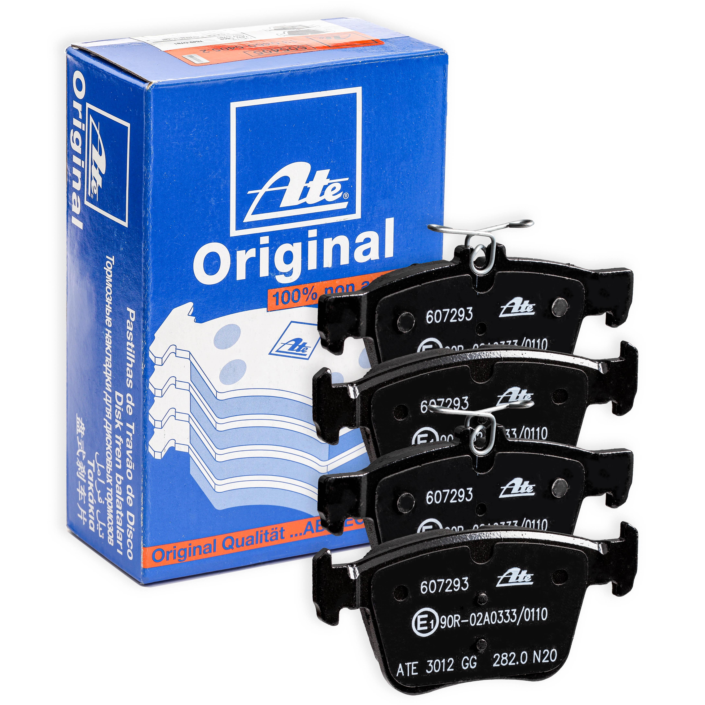ATE: Original Bremsbelagsatz 13.0460-7293.2 (Höhe 1: 61,2mm, Höhe 2: 56,2mm, Breite 1: 123,0mm, Breite 2: 123,0mm, Dicke/Stärke: 16,3mm)