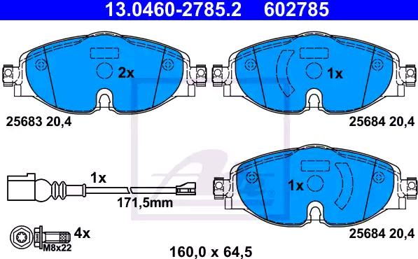 13.0470-2785.2 Bremsbelagsatz ATE - Markenprodukte billig