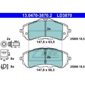 25896 ATE Ceramic no preparado para indicador de desgaste, excl. contacto de avisador de desgaste, con tornillos pinza freno, con accesorios Altura 1: 58,3mm, altura 2: 63,5mm, Ancho: 147,8mm, Espesor: 18,5mm Juego de pastillas de freno 13.0470-3870.2 a buen precio