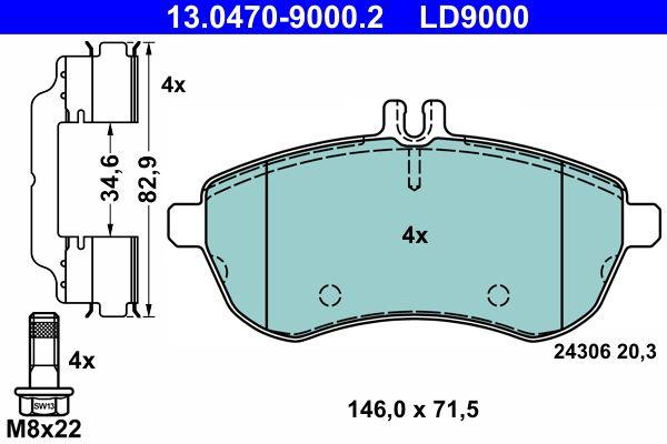 13.0470-9000.2 Bremsbelagsatz, Scheibenbremse ATE Test