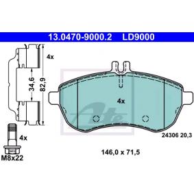 13047090002 Bremsbelagsatz, Scheibenbremse ATE LD9000 - Große Auswahl - stark reduziert