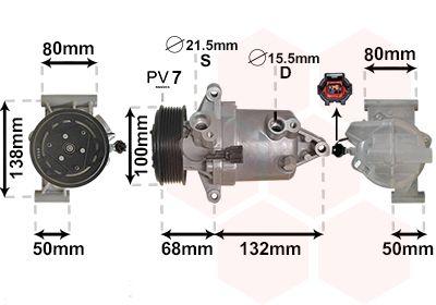 VAN WEZEL: Original Klimakompressor 1301K703 (Riemenscheiben-Ø: 110mm, Anzahl der Rillen: 7)