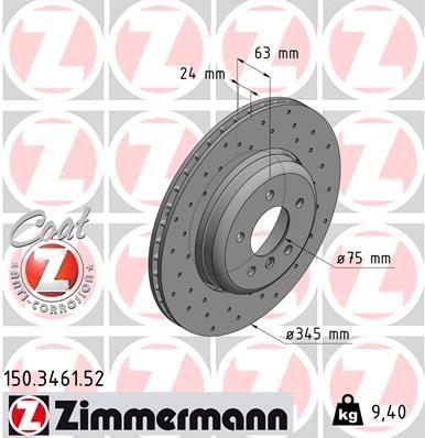 150.3461.52 Bremsscheibe ZIMMERMANN in Original Qualität