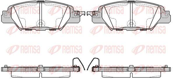 D18469073 REMSA Hinterachse, mit akustischer Verschleißwarnung, mit Klebefolie Höhe: 42,8mm, Dicke/Stärke: 14,5mm Bremsbelagsatz, Scheibenbremse 1677.00 günstig kaufen
