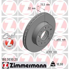 180.3030.20 ZIMMERMANN COAT Z Innenbelüftet, beschichtet Ø: 300mm Bremsscheibe 180.3030.20 günstig kaufen