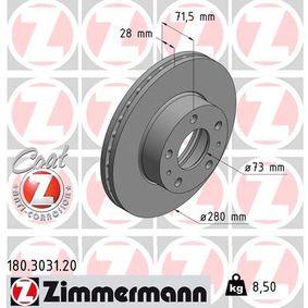 180.3031.20 ZIMMERMANN COAT Z Innenbelüftet, beschichtet Ø: 280mm Bremsscheibe 180.3031.20 günstig kaufen