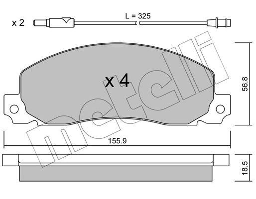 20928 METELLI inkl. Verschleißwarnkontakt Dicke/Stärke 1: 18,5mm Bremsbelagsatz, Scheibenbremse 22-0098-0 günstig kaufen