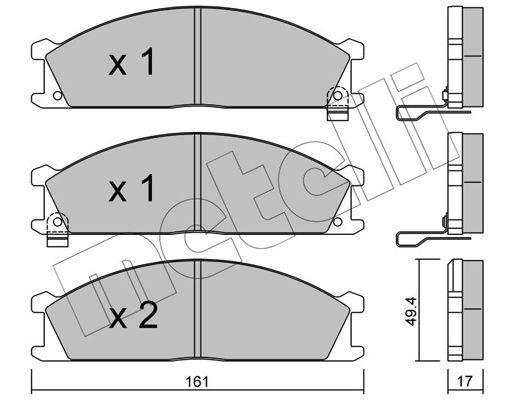 21347 METELLI mit akustischer Verschleißwarnung Dicke/Stärke 1: 17,0mm Bremsbelagsatz, Scheibenbremse 22-0107-1 günstig kaufen
