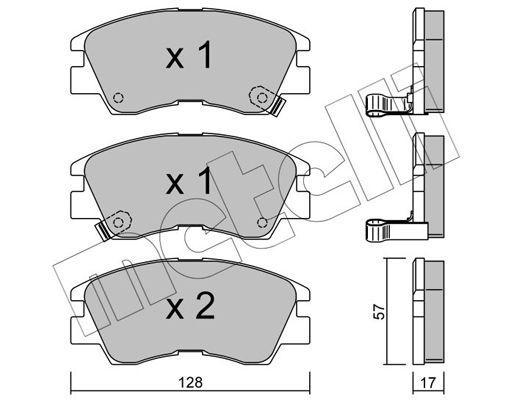 D0349 METELLI mit akustischer Verschleißwarnung Dicke/Stärke 1: 17,0mm Bremsbelagsatz, Scheibenbremse 22-0115-0 günstig kaufen