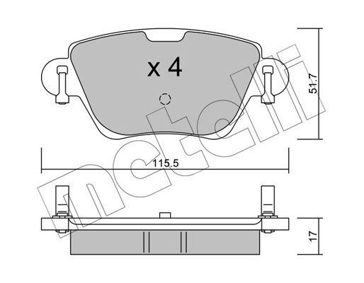 23557 METELLI exkl. Verschleißwarnkontakt, nicht für Verschleißwarnanzeiger vorbereitet Dicke/Stärke 1: 17,0mm Bremsbelagsatz, Scheibenbremse 22-0319-0 günstig kaufen
