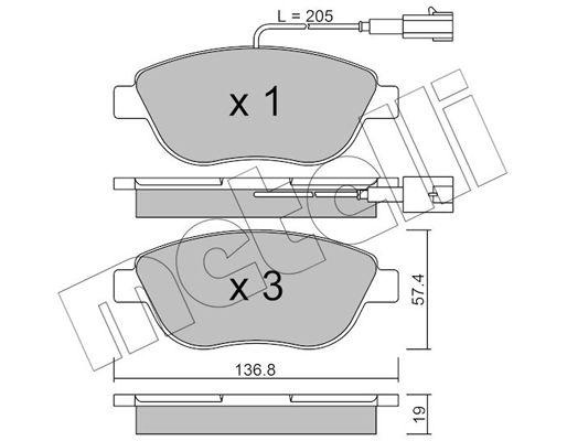 23709 METELLI inkl. Verschleißwarnkontakt Dicke/Stärke 1: 19,0mm Bremsbelagsatz, Scheibenbremse 22-0322-0 günstig kaufen