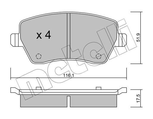 25729 METELLI exkl. Verschleißwarnkontakt, nicht für Verschleißwarnanzeiger vorbereitet Dicke/Stärke 1: 17,5mm Bremsbelagsatz, Scheibenbremse 22-0485-0 günstig kaufen