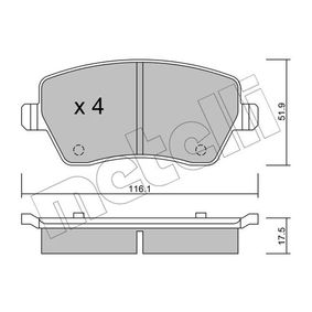 D1435 METELLI exkl. Verschleißwarnkontakt, nicht für Verschleißwarnanzeiger vorbereitet Dicke/Stärke 1: 17,5mm Bremsbelagsatz, Scheibenbremse 22-0485-0 günstig kaufen