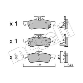 24574 METELLI mit akustischer Verschleißwarnung Dicke/Stärke 1: 14,5mm Bremsbelagsatz, Scheibenbremse 22-0556-1 günstig kaufen