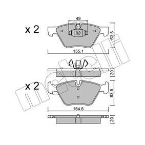 24096 METELLI für Verschleißwarnanzeiger vorbereitet Höhe 2: 63,5mm, Breite 2: 155,1mm, Dicke/Stärke 1: 20,0mm Bremsbelagsatz, Scheibenbremse 22-0557-5 günstig kaufen