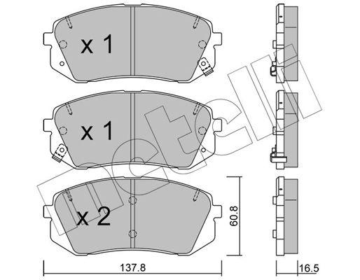 D1803 METELLI mit akustischer Verschleißwarnung Dicke/Stärke 1: 16,5mm Bremsbelagsatz, Scheibenbremse 22-0783-0 günstig kaufen