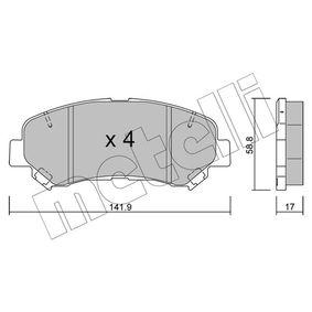 25202 METELLI exkl. Verschleißwarnkontakt, nicht für Verschleißwarnanzeiger vorbereitet Dicke/Stärke 1: 17,0mm Bremsbelagsatz, Scheibenbremse 22-0792-0 günstig kaufen