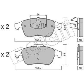 D1765 METELLI exkl. Verschleißwarnkontakt, nicht für Verschleißwarnanzeiger vorbereitet Höhe 2: 68,0mm, Breite 2: 155,2mm, Dicke/Stärke 1: 18,0mm Bremsbelagsatz, Scheibenbremse 22-0803-2 günstig kaufen