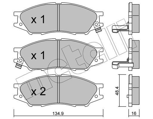 24647 METELLI mit akustischer Verschleißwarnung Dicke/Stärke 1: 16,0mm Bremsbelagsatz, Scheibenbremse 22-0810-0 günstig kaufen
