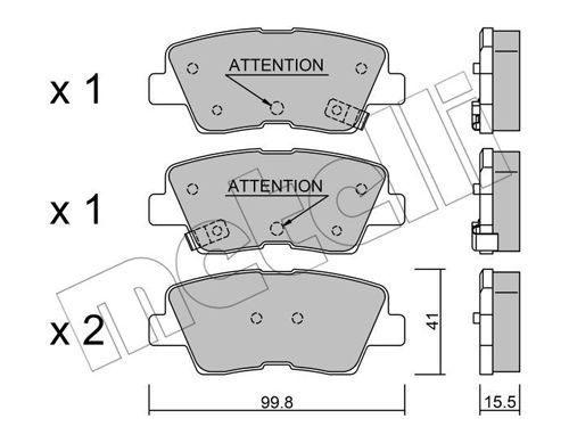 SSANGYONG TIVOLI 2021 Bremsbelagsatz - Original METELLI 22-0886-1 Dicke/Stärke 1: 15,5mm