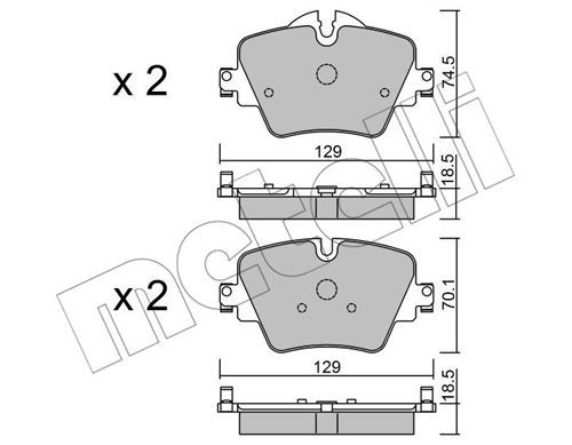 25617 METELLI für Verschleißwarnanzeiger vorbereitet Höhe 2: 70,1mm, Dicke/Stärke 1: 18,5mm Bremsbelagsatz, Scheibenbremse 22-1037-0 günstig kaufen