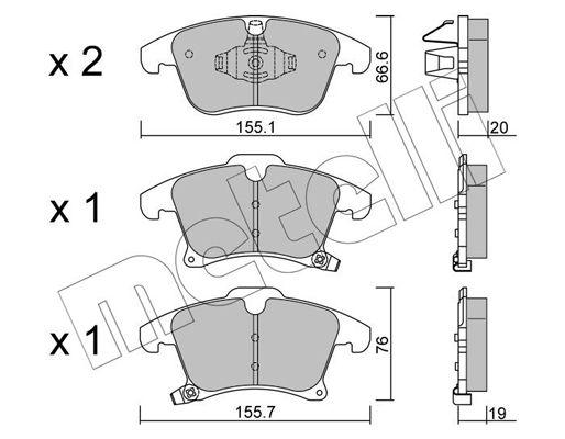 METELLI Bremsbelagsatz, Scheibenbremse 22-1039-0