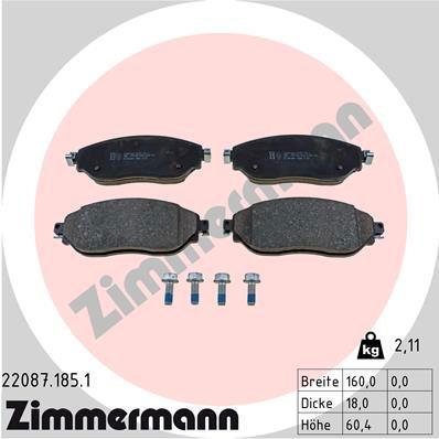 Bremsbelagsatz Scheibenbremse ZIMMERMANN 22087.185.1