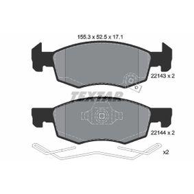 2214317115 TEXTAR mit akustischer Verschleißwarnung, mit Zubehör Höhe: 52,5mm, Breite: 155,3mm, Dicke/Stärke: 17,1mm Bremsbelagsatz, Scheibenbremse 2214301 günstig kaufen