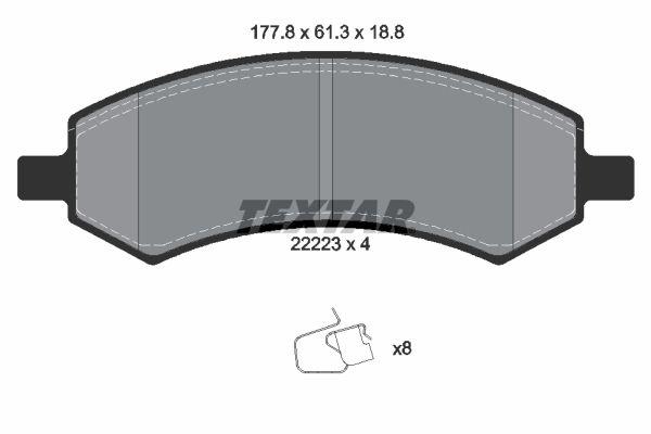 CHRYSLER ASPEN 2017 Bremsbelagsatz Scheibenbremse - Original TEXTAR 2222301 Höhe: 61,3mm, Breite: 177,8mm, Dicke/Stärke: 18,8mm