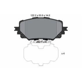 2227114504 TEXTAR nicht für Verschleißwarnanzeiger vorbereitet, mit Zubehör Höhe: 53,5mm, Breite: 122,2mm, Dicke/Stärke: 14,5mm Bremsbelagsatz, Scheibenbremse 2227101 günstig kaufen