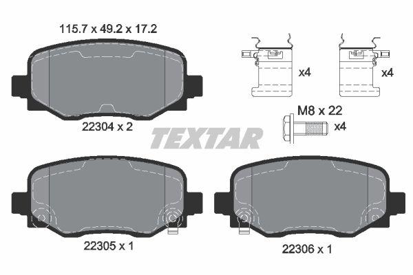 2230417215 TEXTAR mit akustischer Verschleißwarnung, mit Bremssattelschrauben, mit Zubehör Höhe: 49,2mm, Breite: 115,7mm, Dicke/Stärke: 17,2mm Bremsbelagsatz, Scheibenbremse 2230401 günstig kaufen