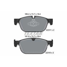 2231718405 TEXTAR für Verschleißwarnanzeiger vorbereitet Höhe: 74,7mm, Breite: 180,2mm, Dicke/Stärke: 18,4mm Bremsbelagsatz, Scheibenbremse 2231701 günstig kaufen